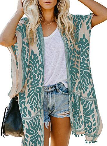 Sidefeel Women Print Pom Pom Tassel Kimono Beach Cover Up Cardigan Top One Size Green