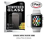 42mm Apple Watch Tempered Glass, (2-Pack) ProtoCASE Ultra Clear Tempered Glass Screen Protector for iWatch Apple Watch 42mm Series 1 and Series 2 Reviews