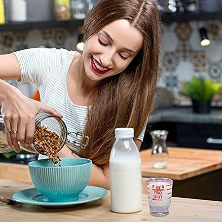 Hemoton 2 Unidades de Vasos de Chupito Taza de Medida Transparente con Escamas de Vidrio Onza Tazas para Cóctel de Whisky Cóctel Chupito para Pastel Espresso Rojo