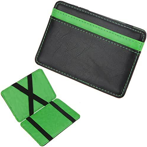 DEEZOMO Multicolored Leather Slim Magic Wallet and Credit & ID Case Holder