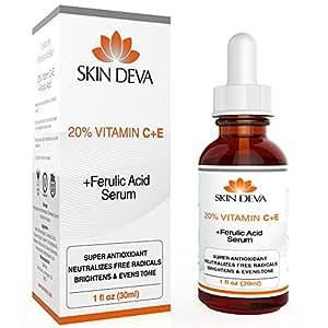 20% Vitamin C & E Plus Ferulic Acid Serum Rejuvenates Skin to Fresh & Beautiful w/ Super Antioxidant That Powerfully Neutralizes Free Radicals to Brighten & Even