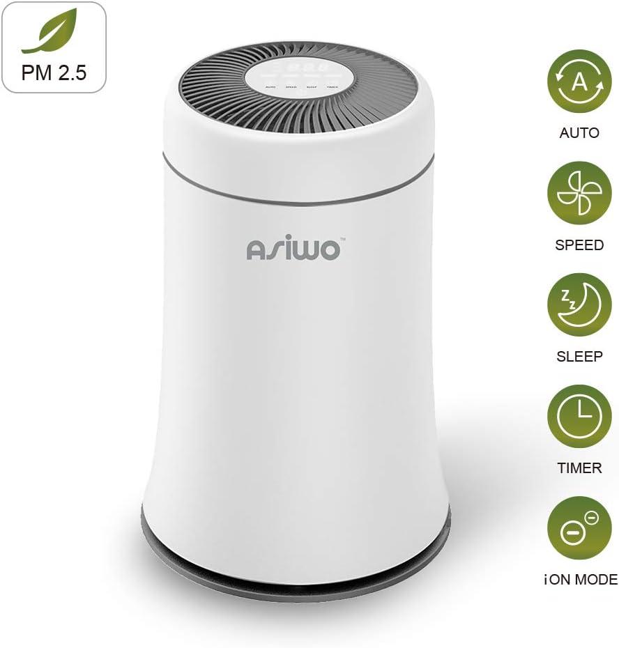 Asiwo Air Purifier for Home Filters Smoke, Dust, Pet Dander, Odors, 3 in 1 True HEPA Desktop Air Purifier with Negative ion Soot Sensor High-Efficiency Fresh Air Quiet in Bedroom Office