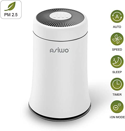 Asiwo Air Purifier for Home Filters Smoke, Dust, Pet Dander, Odors, 3 in 1 True HEPA Desktop Air Purifier with Negative ion Soot Sensor High-Efficiency Fresh Air Quiet in Bedroom Office
