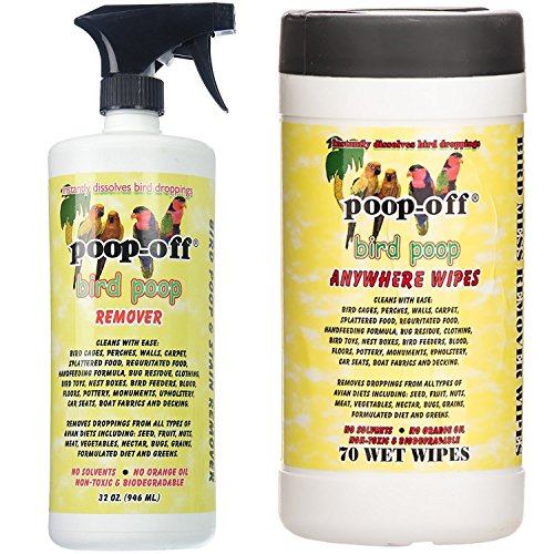 Poop Off Gallon - Poop-Off Bird Poop Remover Spray and Anywhere Cleaning Wipes, 32-Ounce Spray and 70 Wipes