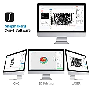 Snapmaker 3-in-1 3D Printer (3D Printing/CNC Carving/Laser Engraving), All-Metal Build, Entry-Level Digital Fabrication Tool, Easy to Use Software, Free PLA Filament, Upgraded Version from Snapmaker
