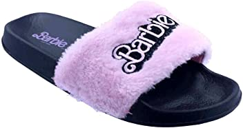 Black and White Womens Furry Pink Barbie Slide Sandal