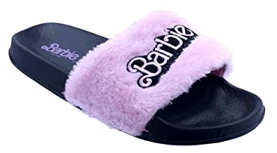 824228a395c3 Women s Furry Pink Barbie Slide Sandal