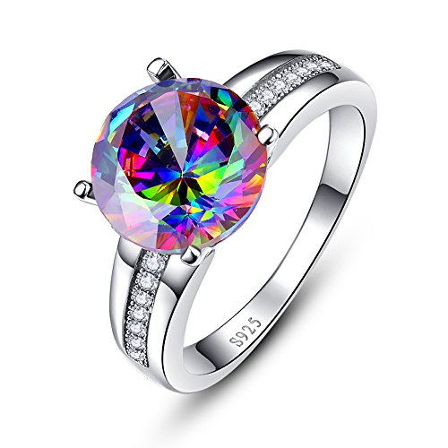 BONLAVIE 925 Sterling Silver Solitaire Engagement Ring with 10x10mm Round Created Mystic Rainbow Topaz 9 ()