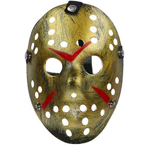 Skeleteen Horror Hockey Costume Mask - Realistic Killer Costume Gold Mask Toys for Adults and ()