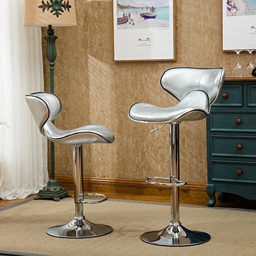 Roundhill Furniture Masaccio Cushioned Leatherette Upholstery Airlift Adjustable Swivel Barstool with Chrome Base (Set of 2), Silver