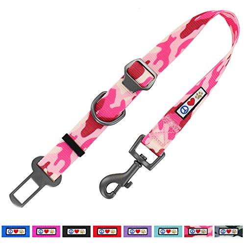 Pawtitas Dog Seat Belt with Restraining Strap for Pet Carrier Adjustable Strap Dog Training Puppy Training Camouflage Pink Dog Seat Belt (Camouflage Dog Carrier)