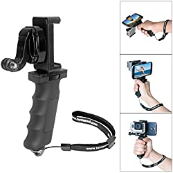Fantaseal Ergonomic Action Camera Hand Grip Mount w/ Smartphone Clip for GoPro Grip GoPro Stabilizer Support for GoPro Hero 5 /4/3/Session Garmin Virb XE Xiaomi Yi SJCAM Hand Grip Support Holder