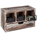 MyGift Rustic Torched Wood Desktop Organizer Cabinet with Metal Baskets