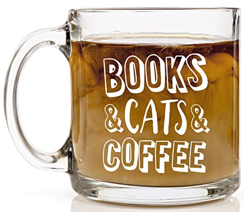 Shop4Ever Books Cats Coffee Novelty Glass Kitty Cat ~ (13 oz., Clear)