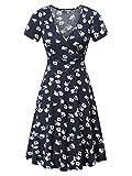 MSBASIC Vintage Dress for Women, Junior V Neck Short Sleeve A Line Floral Wrap Casual Fall Dress Large Floral-2