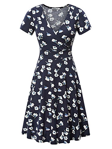 MSBASIC Vintage Dress for Women, Ladies Short Sleeve Deep V Neck Casual Flared Midi Dress X-Large Floral-2 (Ladies Dresses Casual)