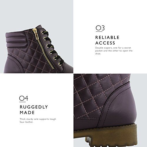 Hiking Credit Women's DailyShoes Military Card High Exclusive Premium Combat Ankle Purple Buckle Quilted Up Pu Boots Pocket Lace rwRXwxq