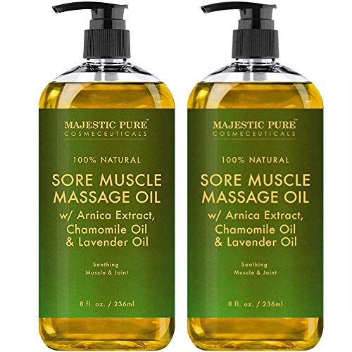 Arnica Sore Muscle Massage Oil for Joints and Muscles by Majestic Pure - Soothe Sore, Tired Muscles, Nourishing and Hydrating, 8 fl. oz.Set of 2 (Arnica Heel)