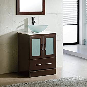 24 Bathroom Vanity Cabinet White Tech Stone Quartz Top Glass Vessel
