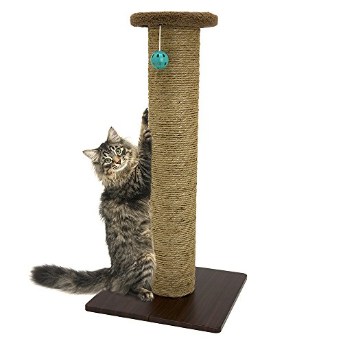 Kitty City Premium Sisal Scratching Post Fleece Bed Furniture, Total Height 32 Inches