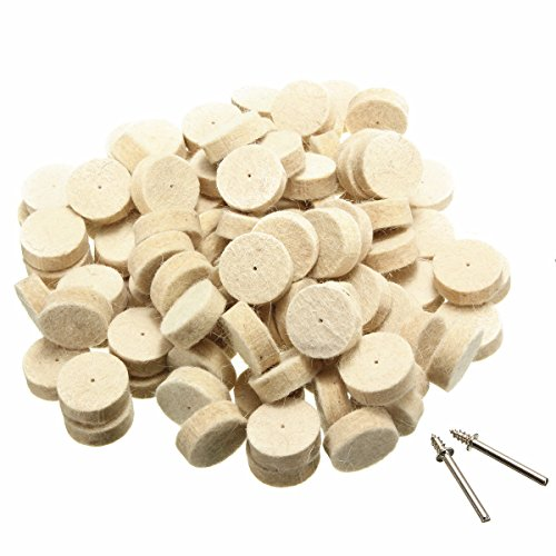 SHINA 100pcs Wool Felt Polishing Buffing Wheels Bobs Buffs 1/2
