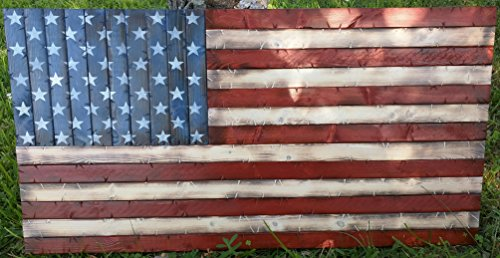Rustic Wooden American Flag; 19''x37'' by Cowboy Capital Rustic Signs