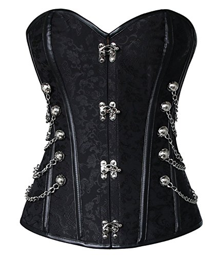 Blidece Women's Steampunk Steel Boned Brocade Waist Cincher Corset Bustier Top with G-String Small