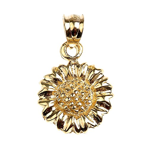 Polished 14k Yellow Gold Sunflower Charm Pendant