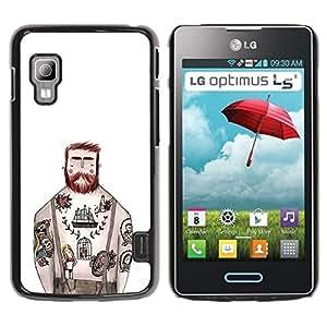 Be Good Phone Accessory // Dura Cáscara cubierta Protectora Caso Carcasa Funda de Protección para LG Optimus L5 II Dual E455 E460 // Tattoo Captain White Ink Rustic Man
