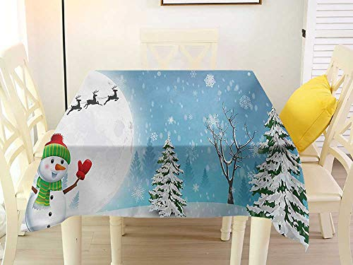 L'sWOW Square Tablecloth Cotton Christmas Jolly Snowman Under Full Moon Waving to Santa Claus with Reindeer Sleigh Kids White Blue Chairs 60 x 60 - High Chair Sleigh