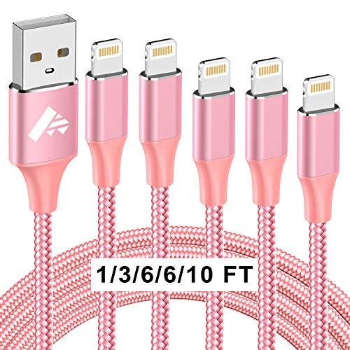 iPhone Charger Cable 5 Pack, MFi Certified iPhone Charging Cord Long Phone Charge Braided iPhone Lightning Cable Fast Charging Compatible iPhone 12 Pro Mini Max XS XR X 11 10 8 7 6s 6 SE, iPad-Pink