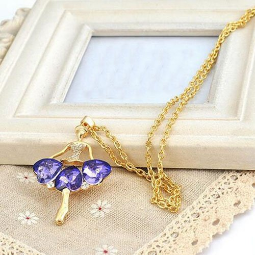 Purple Modogirl Fashion Angel Long Pendant Necklace Ballet Sweater Chain For Women And Gift