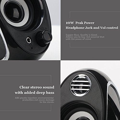 TuparGo DX18 USB Powered Computer Speakers with Headphone Jack,10W Peak Power Apply To Any 3.5mm Port-Equipped Media Players(Black) by TuparGo (Image #2)