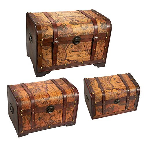Juvale Wooden Chest Trunk, 3-Piece Storage Trunk and Chests | Map Pattern - Antique Victorian Style - Pirate Treasure Chest in 3 Different Sizes