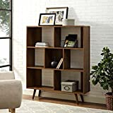 Modway Transmit Mid-Century Offset Cube Wood Bookcase in Walnut