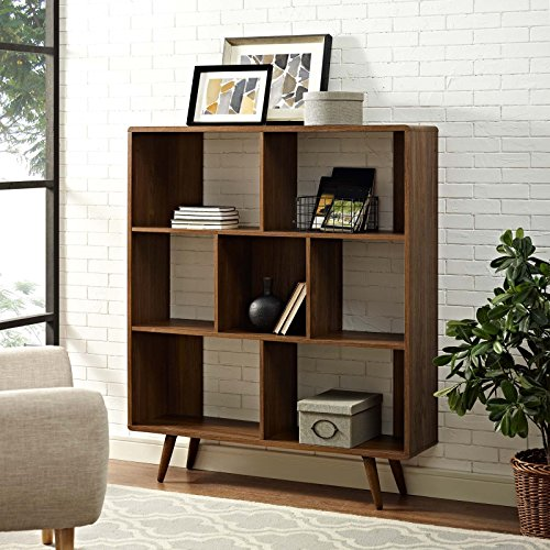 Modway Transmit Mid-Century Offset Cube Wood Bookcase in (Brown Modern Furniture)