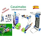 Carro Portasillas Aluminio-Carro porta sillas, sombrillas, nevera. Convertible en mesa. Playa Piscina