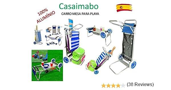 Carro Portasillas Aluminio-Carro porta sillas, sombrillas, nevera. Convertible en mesa. Playa Piscina: Amazon.es: Hogar