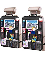 """2 Pack Car BackSeat Organizer, for Kids Car Organizer Kick Mats with 10"""" Touch Screen Tablet Holder 11 Storage Pockets Car Back Seat Protectors Backseat Child Kick Guard Seat Saver (21"""" x 16""""in)"""