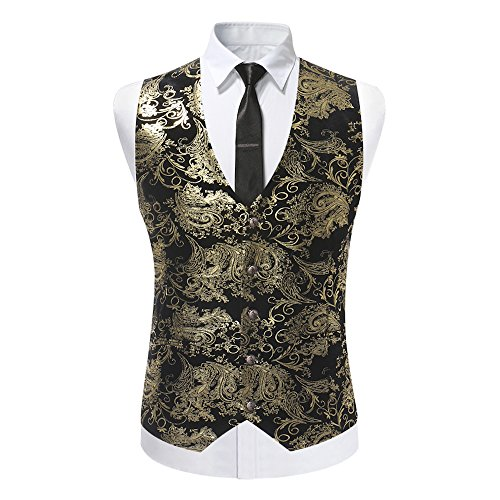 Cloudstyle Mens Single Breasted Vest Dress Vest Slim Fit Button Down Prom Formal Suit Vest Waistcoat -