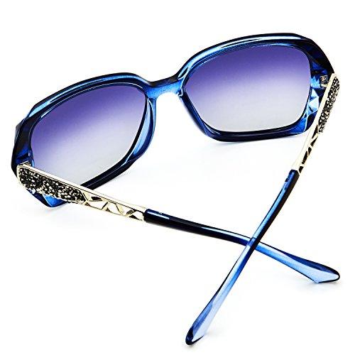 Pour Surdimensionnées Lunettes Classiques Femmes UV Cadre Lentille Bleu 100 Polarisées Soleil LECKIRUT Grise de Protection pARSUcc