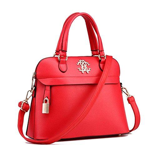 QCKJ-Lorenz-Borsa a tracolla da donna in ecopelle, colore: rosso