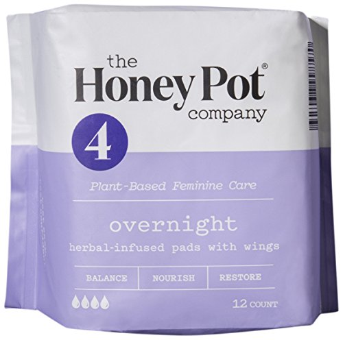 All Natural Honey (The Honey Pot Overnight Feminine Pads with Wings, Herbal All Natural, 33cm, (12 Count))