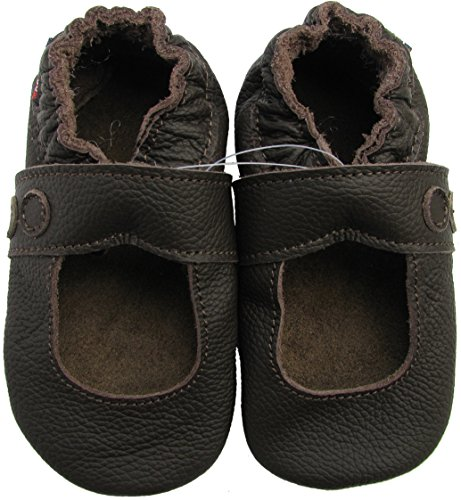 Carozoo baby girl soft sole leather baby shoes infant toddler kids slippers Mary Jane Dark Brown 0-6m