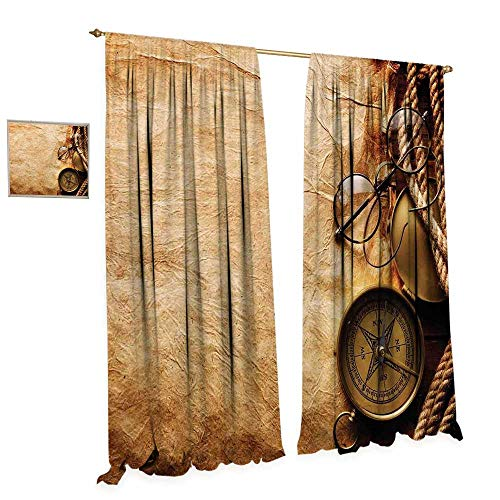 cobeDecor Compass Waterproof Window Curtain Compass Rope and Glasses on Old Paper History Exploring Cartography Illustration Blackout Draperies for Bedroom W84 x L96 Brown Copper