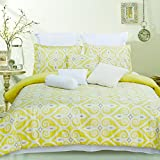 DECORAPORT 100% Cotton 10-Piece Comforter Set in Yellow (DK-LJ002) (KING)