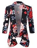 3 4 sleeve open front blazer - Doublju Womens Lightweight Thin 3/4 Sleeve Open Front Blazer with Plus Size BLACKROSE X-Large