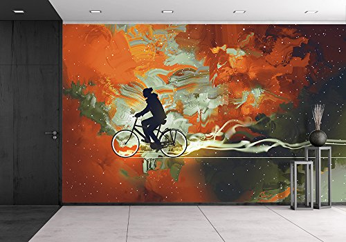 Silhouettes of Man on Bicycle in Universe Filled Illustration Art