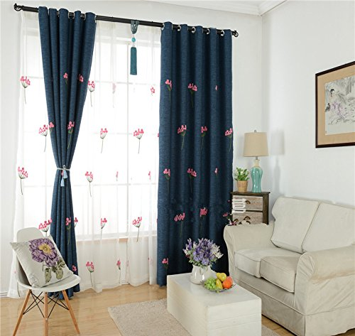 AiFish 1 Panel Floral Embroidery Sheer Curtains Decorative Light Flitering Transparent Window Treatment Panels Home Decor Rod Pocket Top Tulle Cotton Voile Curtains for Living Room W52 x L96 inch