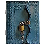 Prastara Genuine Leather Cover Lock Diary 200 Pages, 5 x 7 Inches (Blue)